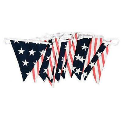 Huge 100Ft Usa American Triangle Fabric Flag Bunting 4Th July Independence Day