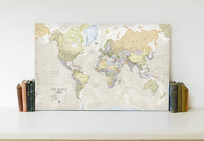 Extra large world map canvas with beech wood rails 7500 classic map of the world framed canvas print gumiabroncs Gallery
