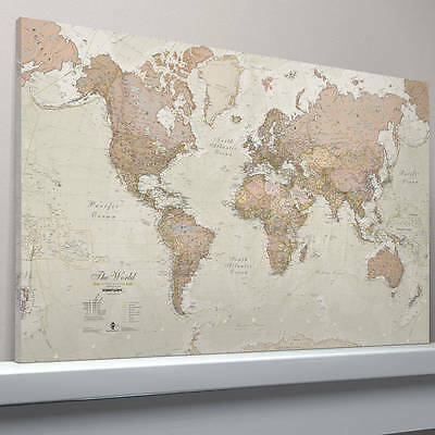 Antique Map Of The World Framed Canvas Print