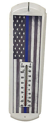 Thin Blue Line American Flag Nostalgic Shape Metal Thermometer