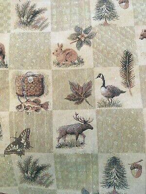 Upholstery Fabric Mountain Lodge Cabin Rustic Bear Geese