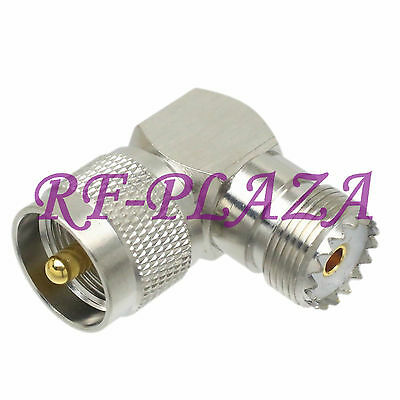 1pce Adapter UHF PL259 male plug to UHF SO239 female jack right angle COAXIAL