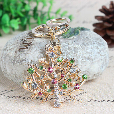 Double Christmas Trees Charm Pendant Fashion Crystal Purse Bag Keyring Key Chain