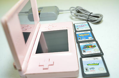 Nintendo DS Lite Coral Pink Handheld System bundle super mario 64 wall charger