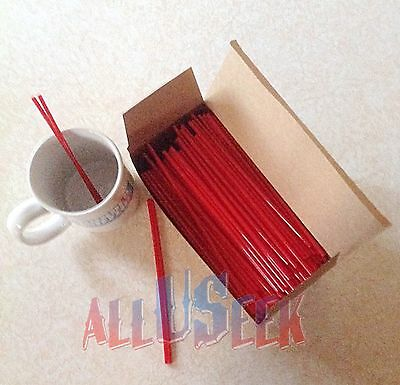 """Coffee & Party Drink Straws Red 7""""- Bar Cocktail Sip Stirrers"""