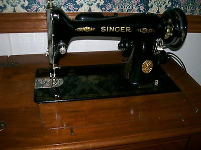 1947 Singer Elec. Sewing Machine, 66-16, cabinet, stool, booklet and attachments