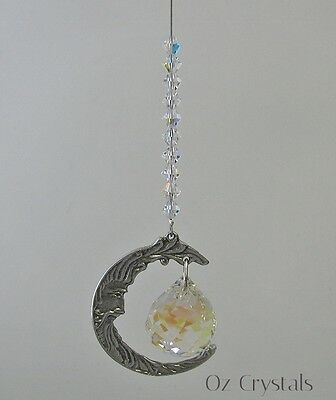 Pewter Man in  the Moon Suncatcher With 20mm Swarovski Crystal AB Ball - Small