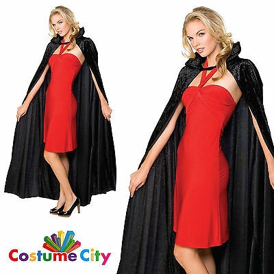 "Adults Unisex Deluxe 60"" Black Crushed Velvet Cape Halloween Vampire Fancy Dress"