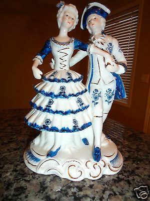 """ANTIQUE VICTORIAN porcelain 8"""" Tall PAIR FIGURINES COURTING COUPLE BLUE GOLD"""