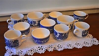 SET of ELEVEN  ASSORTED VINTAGE CHURCHILL BLUE WILLOW TEA & COFFEE CUPS