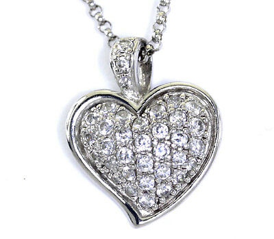 Cubic Zirconia Encrusted Heart Shaped Pendant with Chain in Sterling Silver