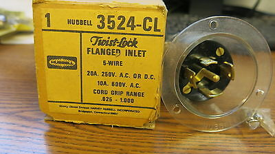 Hubbell 3524-CL 20 Amp 250 Volt 5 Wire Twistlock Flanged Inlet NEW
