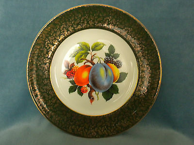 "WOOD & SONS 10"" Dinner Plate Fruit Pattern Green Gold Trim ALPINE WHITE England"