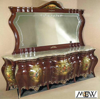9.5Ft Antique Hand Painted French Style Bombe Buffet Sideboard Server w/ Mirror