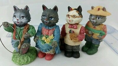 Cat Village Miniture Figurines 1994 THT Cat with Fish, Cat with Hoop, Shopkeeper