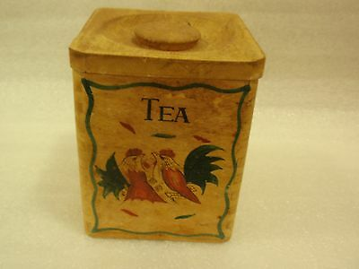 Vintage Wood Tea Box Japan Pre-Wwii, Hand Painted Roosters, Rustic, Primitive!