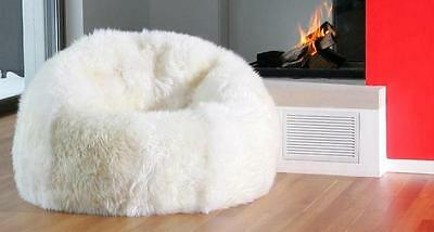 New Shaggy Lush White Soft Luxury Faux Fur Beanbag Bean Bag Lounge Chair 114cmD