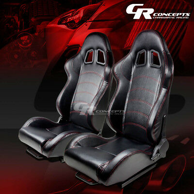 Left+Right Fully Reclinable Black Vinyl Leather Red Stitch Racing Seat+Slider