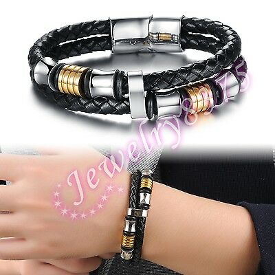 New Black Genuine Leather With Silver Stainless Steel Mens Bracelet 12mm 8inch