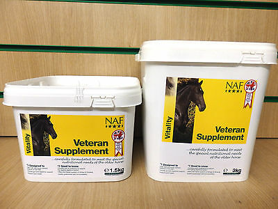 NAF Veteran Horse Pony Supplement - Extra Nutrition For Older Horses - 1.5KG/3KG