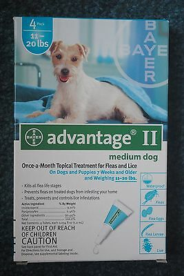 Advantage II for Medium Dogs 11-20 lbs.- 4 Month Supply - EPA Approved