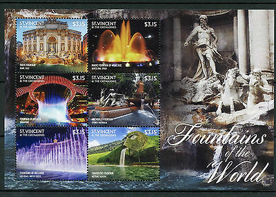 St Vincent Grenadines 2015 MNH Fountains of World 6v M/S Trevi Bellagio Montjuic