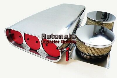 Polished Aluminum 4BBL Butterfly Hood Scoop Chevy Ford Mopar Blower Smooth/Plain