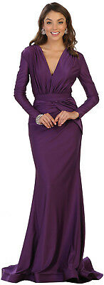 New Simple Prom Evening Designer Long Sleeve Mermaid Gowns Sweet 16 Fitted Dress