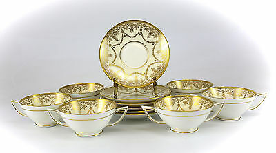 12pc Set Minton Porcelain Gold Encrusted Cream Soup & Saucers; Retailed by Birks