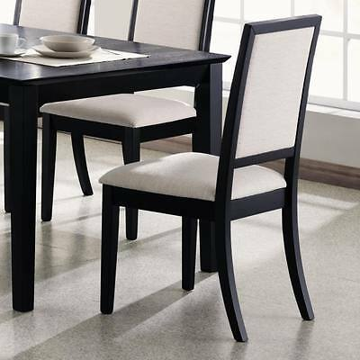 Cream Chenille Dining Chair with Black Wood by Coaster 101562 - Set of 2