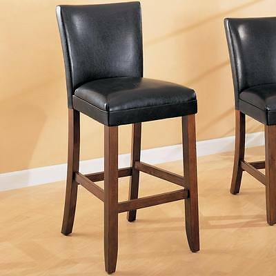 Telegraph Black Faux Leather Bar Stool Chair by Coaster 100387 - Set of 2
