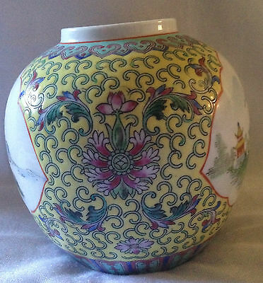 """Oriental Japanese Antique Flower Vase Bowl Blue and Yellow 5"""" High"""