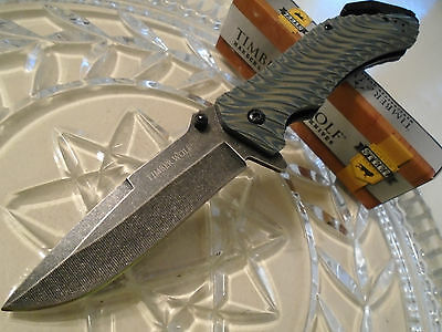 Timber Wolf Assisted Open Stone Wash G10 Wave Tactical Rescue Pocket Knife 454