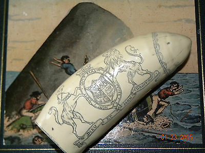 "Scrimshaw Sperm whale tooth resin replica "" BRANDENBURG"" 5 inches long"