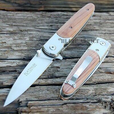 """8"""" PLATINUM COLLECTION Wood Tactical Spring Assisted Open Pocket Knife YC572WD-F"""