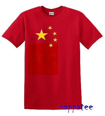 Children's China T Shirt - Kids Boy's or Girl's Red Chinese flag Tee