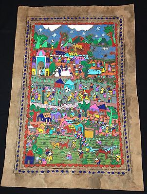 Country Life Painting on Bark PAPEL AMATE FOLK ART Harvest Horse Racing