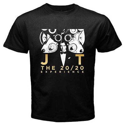 New Justin Timberlake JT The 20/20 Experience Men's Black T-Shirt Size S to 3XL