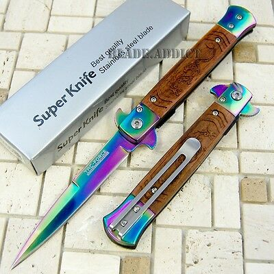 "8"" Wood Dragon Stiletto Tactical Spring Assisted Open Pocket Knife TF609DRR-S"