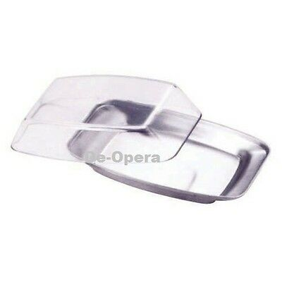 Stainless Steel Butter Dish Box Holder Kitchen Fridge Storage with Clear Lid