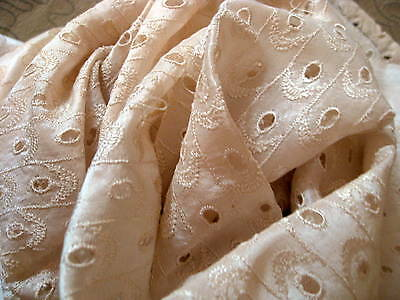 Lot of 10 Pieces of Old Vintage Cream Embroidered Silk Fabric Remnants for
