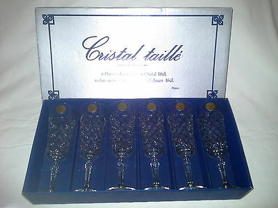 Cristal taille J.G.Durand Lead Crystal Champagne Flutes 6 in original box France
