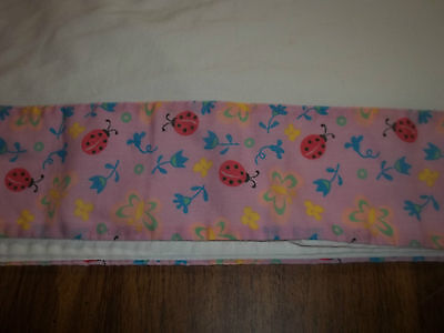 TWIN FLAT SHEET WHITE WITH PINK LADYBUGS BUTTERFLIES BORDER