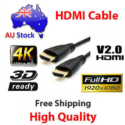 3m HDMI Cable v2.0 3D High Speed with Ethernet HEC Full HD 1080p Gold Plated