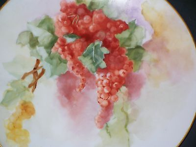 Antique Limoges France Porcelain Red Currants Plate 9.5 inches Artist Signed