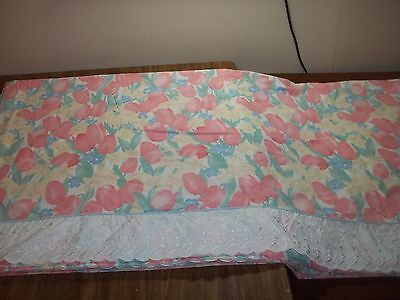 VINTAGE 1986 EILEEN WEST  KING FLAT SHEET  PINK TULIPS WHITE EMBROIDERED BORDER