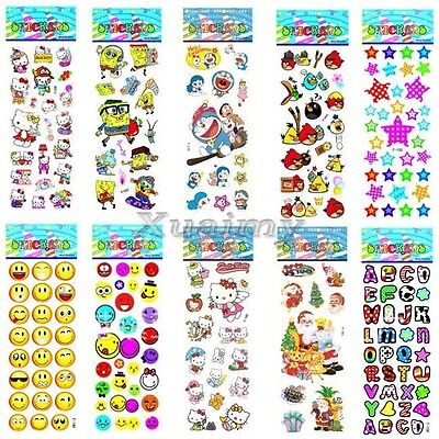 10Pcs Sheets Cartoon Removable Sticker Kid Children 3D Pictures Xmas Gift Toy