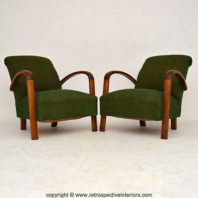 PAIR OF RETRO FRENCH ART DECO ARMCHAIRS VINTAGE 1930's