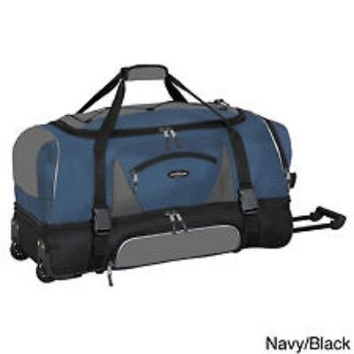 TPRC 2-section Drop Bottom Overnight Travel Rolling Bag Luggage Blue Duffle NEW