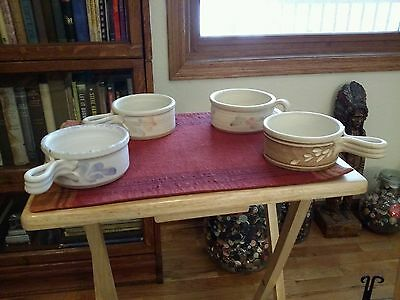 Prince Edward Island (Canada) Pottery*Lot/4 Soup Cups*Signed Pottery Soup Cups